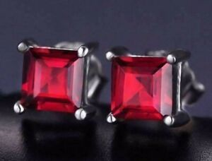 1.3ct Princess garnet Mens Attractive Solitaire Stud Earring 14k White Gold Over