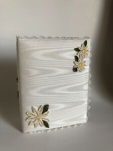 Handmade Fabric Covered Photo Album ~ Embroidered flowers holds 4 X 6 prints