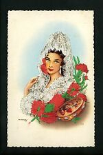 Embroidered clothing postcard Artist MNG woman costumes mantilla #20
