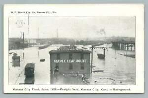 Flooded CGW Railway Freight Depot KANSAS CITY Railroad Train Yards Disaster 1908