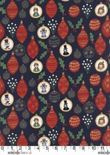 Christmas Ornaments Navy Michael Miller Fabric FQ +More 100%Cotton