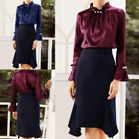 Women Long Sleeve Shirt Tops Office Lady Casual High Neck Formal Work OL Blouse