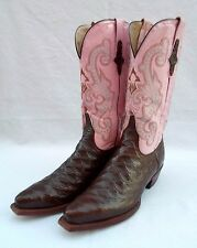 WOMENS 10 B FERRINI SIMULATED ANTEATER PRINT GENUINE LEATHER WESTERN BOOTS PINK