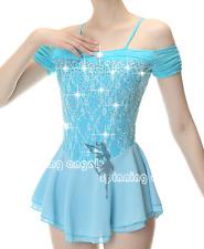 Figure Skating Dress Women's Girls' Ice Skating Dress blue Spandex lace handmade