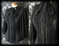 Gothic Black Sheer Polka Dot GOVERNESS Frill Pussy Bow Blouse 12 14 Victorian