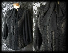 Gothic Black Sheer Polka Dot GOVERNESS Frill Pussy Bow Blouse 4 6 Victorian