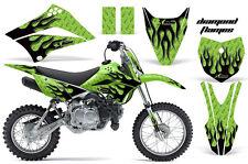 KLX110 Kawasaki Graphic Kit AMR Racing Bike Decal Sticker Kawi Part 10-13 FLAMES