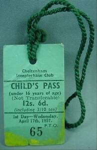 Cheltenham Steeplechase Club Child's Day Pass Badge April 17th 1957 Horse Race