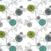 """COTTON 100% SLUB WEAVE UPHOLSTERY CURTAIN FABRIC ANTIQUE BIG FLORAL GREEN 60""""W"""