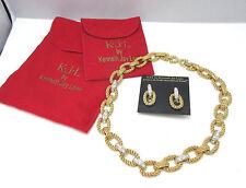 KENNETH JAY LANE GOLD TONE HEAVY LINKED RHINESTONE NECKLACE CLIP ON EARRINGS *