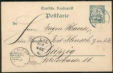 DOA,Ganzsache P15, Moschi(blau)-Tanga-Leipzig, 1904, feinst