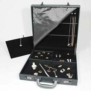 "Black Jewelry Attache Carrying Case w Combo Lock 14 7/8"" x 14 7/8"" x 3 1/2""H"