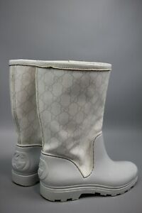 Gucci GG Monogram faux fur rubber Boots Size 36