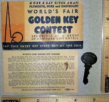 1940 NY World's Fair Golden Key Contest Envelope w Key & Instructions from ConEd