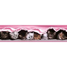 Girls Childrens Pink Kitten Cat Wallpaper Border Cute Nursery Baby Holden Decor