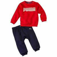 Puma Boys Tracksuit Kids Infants Minicats Joggers Fleece Lining Top Red Navy