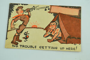 Vintage Camping 1947 Boy Scouts of America Funny Post Card Written Letter Son
