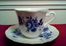 ELIZABETHAN BONE CHINA TAYLOR & KENT, BLUE ROSES, Cup and Saucer