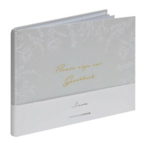 Elegant Grey White Floral Please Sign Our Guestbook Wedding Day Guest Book Party
