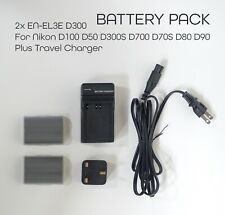 Nikon Battery EN-EL3E EL3a (x2) + Charger For D100 D50 D300S D700 D70S D80 D90