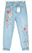 Topshop MOM High Waisted FLORAL EMBROIDERED Blue Tapered Jeans Size 8 W26 L30