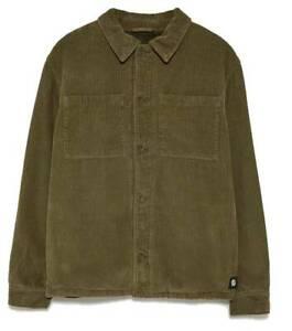 Zara AW 2019/20 Khaki Corduroy Jacket Coat Faux Shearling Interior Free P&P NEW
