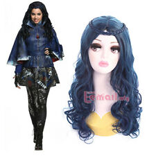 60cm Descendants Evie Long Curly Wave Mixed Blue&Black Cosplay Wig ZY192