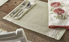 Placemats Set of 2 Green Gingham Check with Lace Country Cottage Decor
