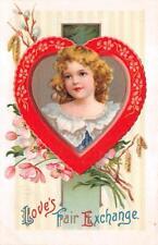 VALENTINE HOLIDAY GIRL HEART FLOWERS EMBOSSED POSTCARD (c. 1909)