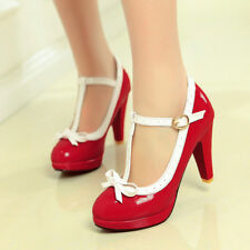 Mary Jane T Bars Stilettos Heels Lolita Ladies Party Shoes Cosplay Autumn New