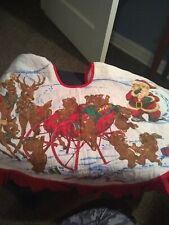 Vintage Christmas Tree Skirt Santa Reindeer Sleigh bears Quilted Classic