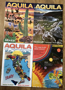 3 AQUILA Children's Magazines & Map New Back Issues Educational Stocking Filler