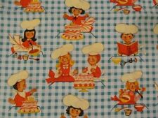 2 Yds Michael Miller Lil' Bakers Fabric Retro Children Baking In The Kitchen OOP