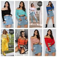 WOMENS LADIES SOFT KNIT RIBBED LONG SLEEVE RUFFLE BARDOT OFF SHOULDER CROP TOP