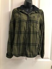 Hurley Olive Black Plaid Long Sleeved Hoodrd Flannel S
