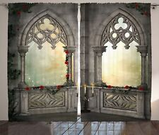 Gothic Curtains Oriental Rose and Flower Window Drapes 2 Panel Set 108x84 Inches