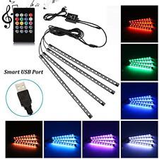 Car LED Strip Light, Uniwit 4 Pcs Multicolor Music Car Interior Atmosphere for