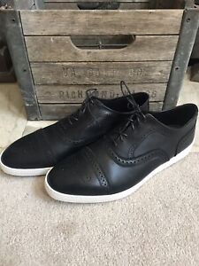 "$295 ALLEN EDMONDS men's ""Strand"" oxford sneakers black / white 12 EEE 123E E EE"
