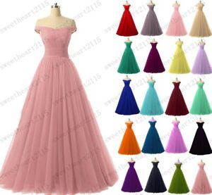 New Long Tulle Women's Party Evening Prom Bridesmaid Formal Dress Size 6-28