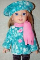 """Jacket hat scarf for 14.5"""" Wellie Wishers Doll Clothes by TKCT handmade minty"""