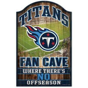 """TENNESSEE TITANS FAN CAVE WHERE THERE'S NO OFFSEASON WOOD SIGN 11""""X17'' 👀🏈"""