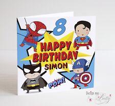 SUPERHERO Personalised Birthday Card - Boys Girls Marvel Batman Spider-Man Etc