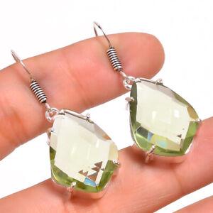 """Green Amethyst Gemstone 925 Sterling 925 Sterling Silver Jewelry Earring 1.7"""""""
