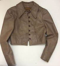 Vintage 1980's Tan Leather Bomber Jacket - CENSOR Melbourne - Size S 8 -10