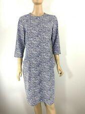 J. McLaughlin Catalina Cloth Dress Blue White Geometric 3/4 Sleeve Size - XL