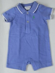 POLO Ralph Lauren Blue One Piece Snap Crotch Green Pony NWT