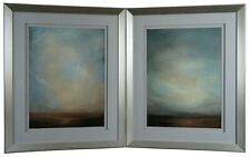 "Abstract Landscape Lithograph Prints ""The High Road"" & ""Mist"" Modern Frame 33"""