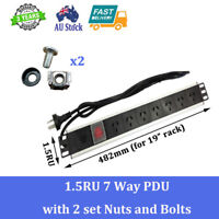 """7 WAYS  PDU HIGH QUALITY 19"""" SERVER CABINET RACK MOUNT WITH NUTS AND BOLTS"""