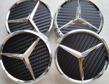 4 pcs, Wheel Emblem Center, Hub Caps, MERCEDES Benz, Carbon Fiber, Black, 75mm