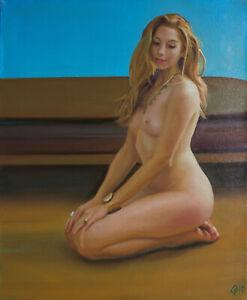 Original framed Oil Painting Female Nude Girl kneeling artwork woman blonde hair